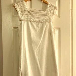 Madewell White Crochet Top Dress with Pockets BNWT